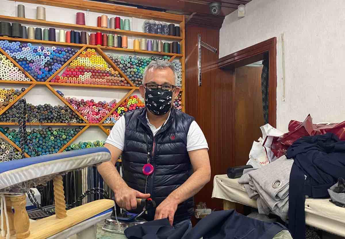 Man making face masks