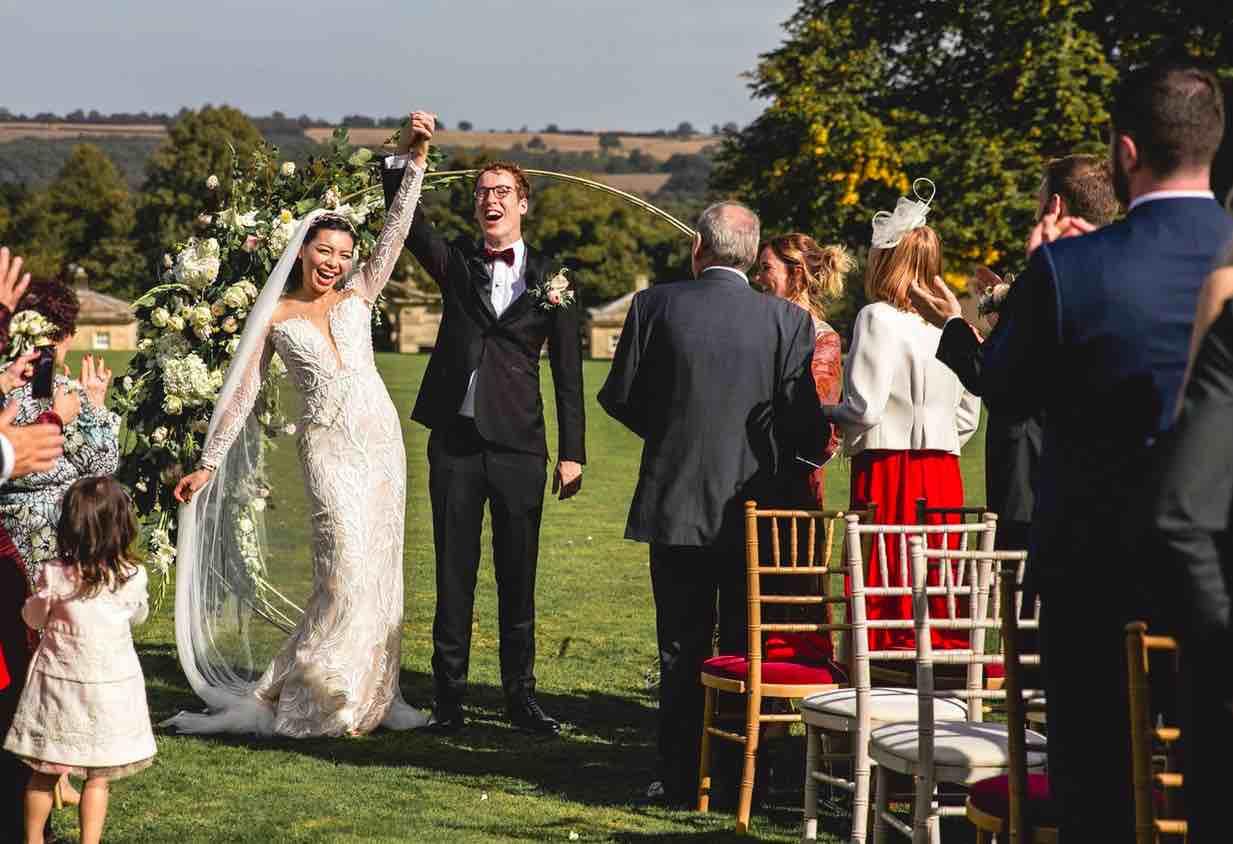 Bridge and Groom celebrate marriage