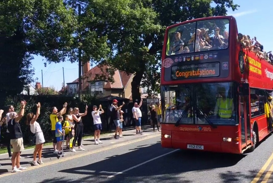 Thousands line streets for Harrogate Town's open-top bus parade