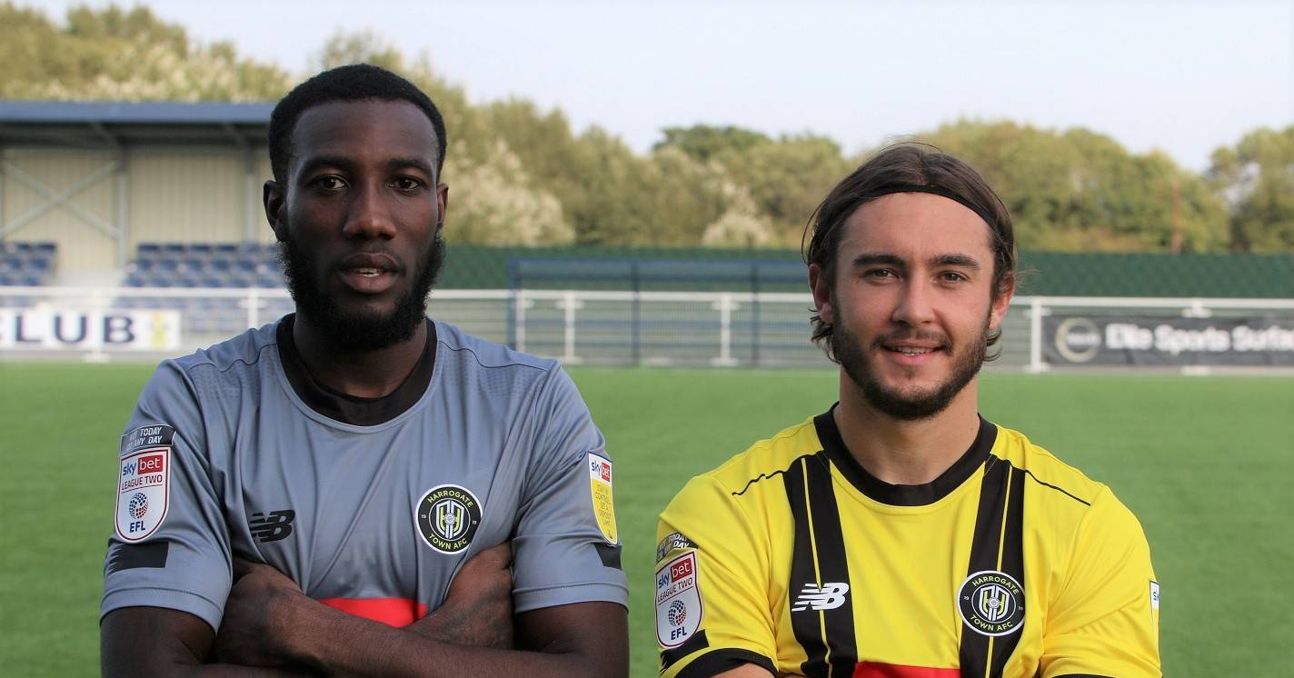 Harrogate Town sign defender Dan Jones and keeper Melvin Minter