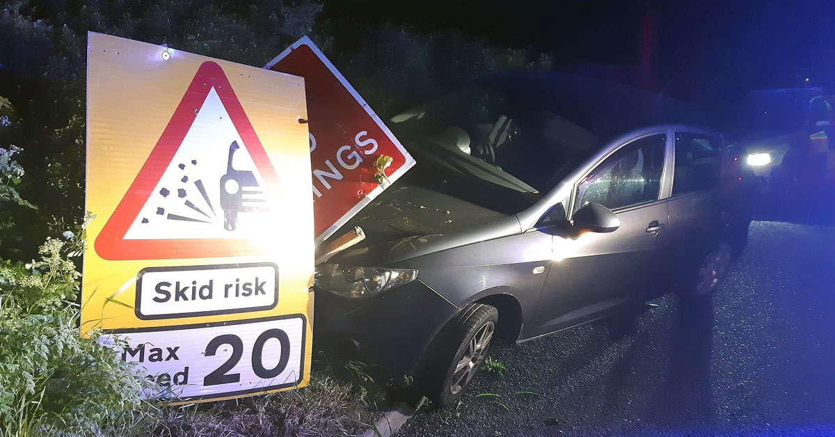 Cannabis driver disqualified after skidding into skid risk sign