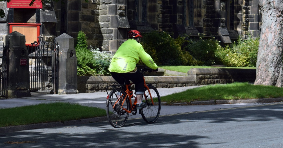 Cyclist on the road in Harrogate.
