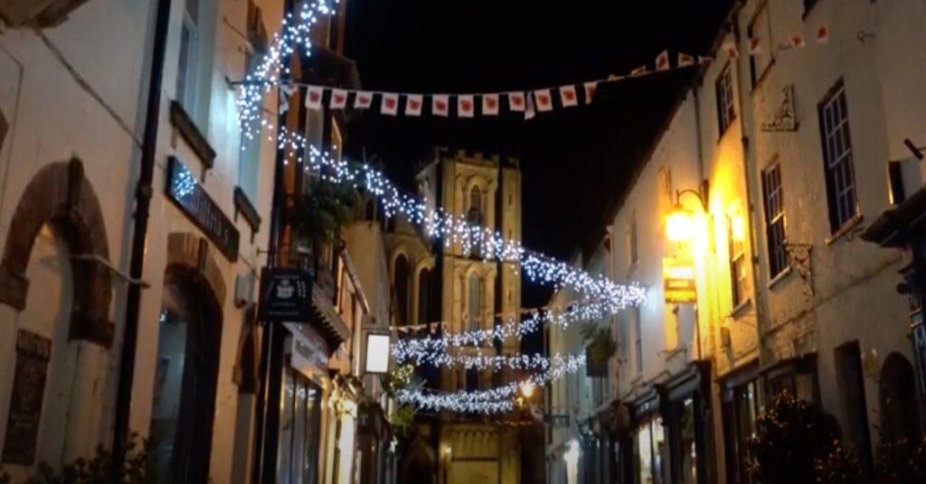 Ripon Christmas lights on Kirkgate
