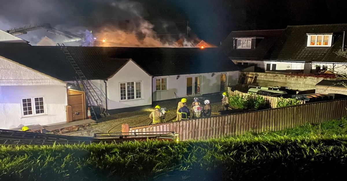 Firefighters tackle the blaze at the Tiger Inn, Coneythorpe, back in November.