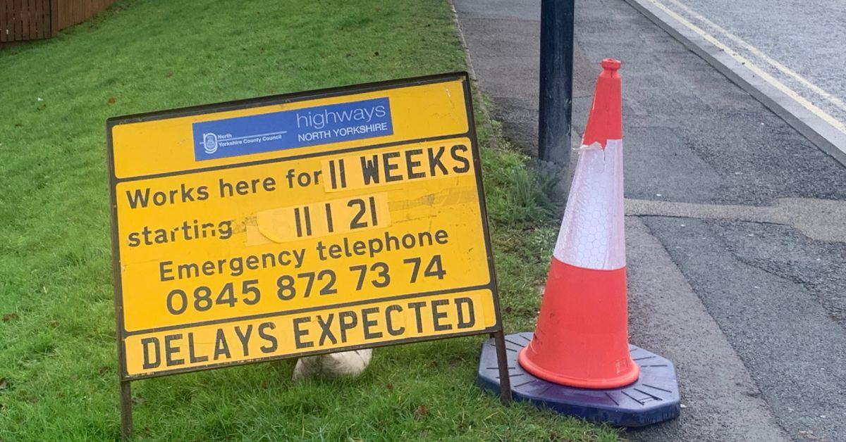 Otley Rd roadworks sign