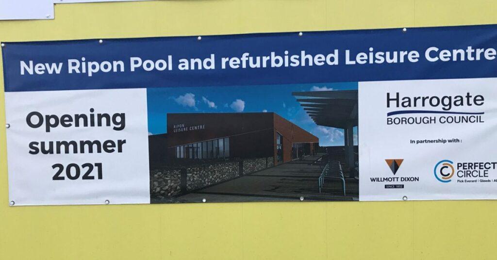 Ripon swimming pool opening sign