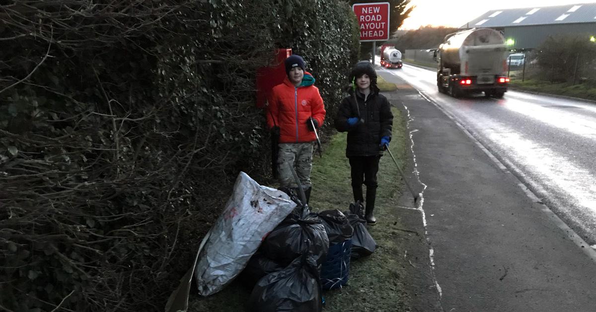 Boroughbridge boys cure lockdown blues by litter-picking