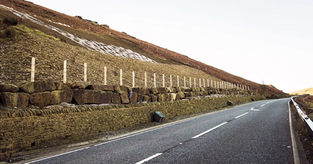 The site on the A59 at Kex Gill, which has a history of landslips.