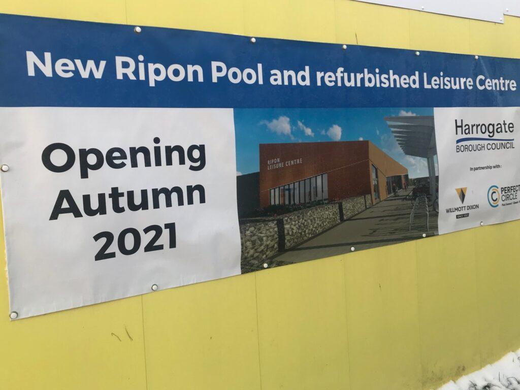 Photo of Ripon Swimming Pool opening Autumn 2021 sign