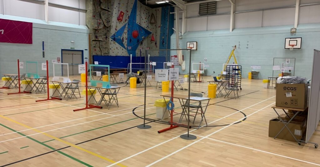 Ripon Grammar School's sports hall set up ready for covid testing