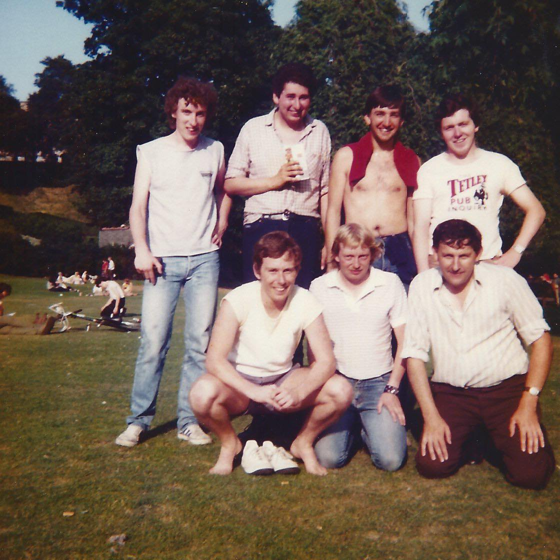 Dave pictured with friends in Edinburgh for Leeds' pre-season in 1983.