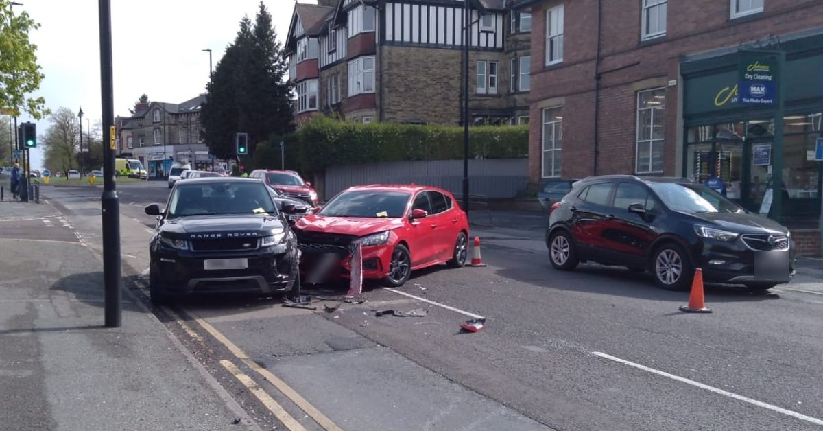 The car crash on Leeds Road this afternoon.