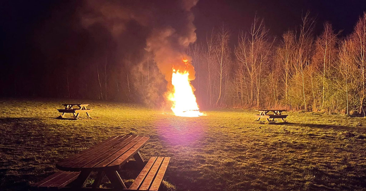 Picnic bench near Pinewoods goes up in flames