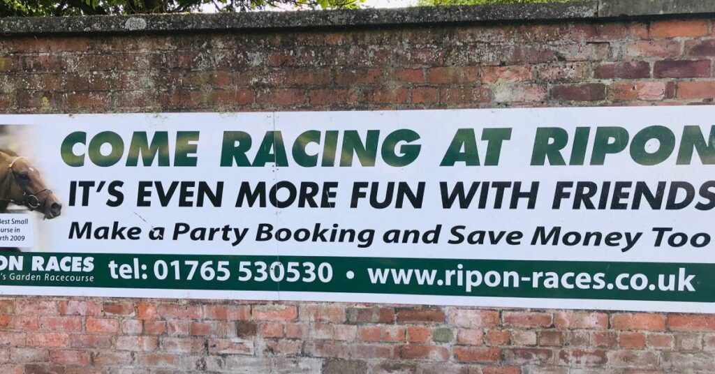 Photo of sign at Ripon Races