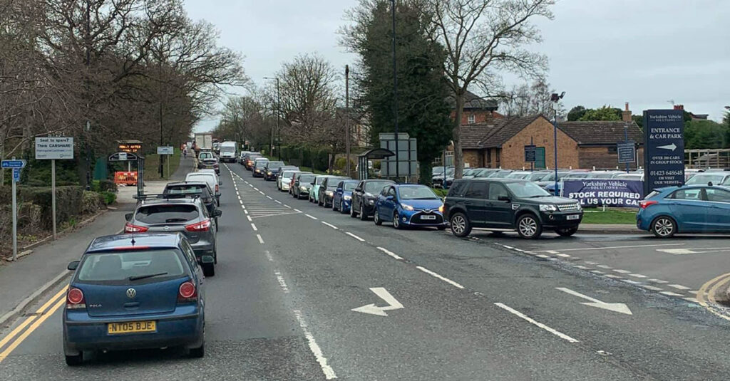 Queues at the recycling centre on Wetherby Road.