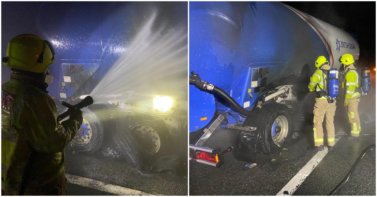 Tanker catches fire on A1 (M) near Boroughbridge