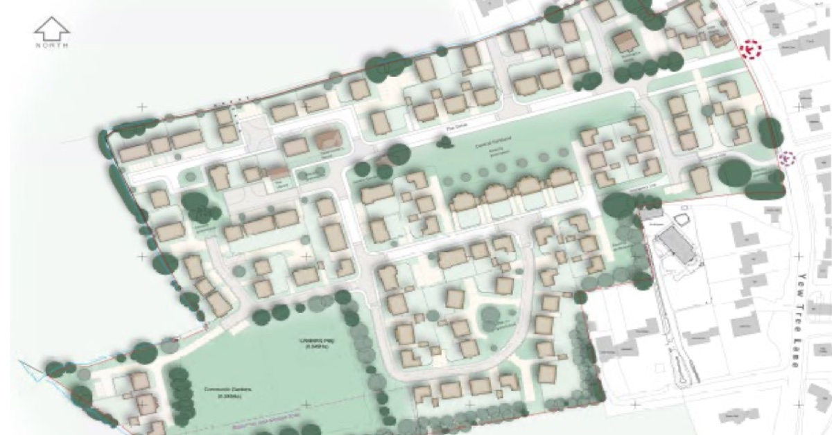 Indicative masterplan of the homes on the former police training centre, as included in the planning documents.