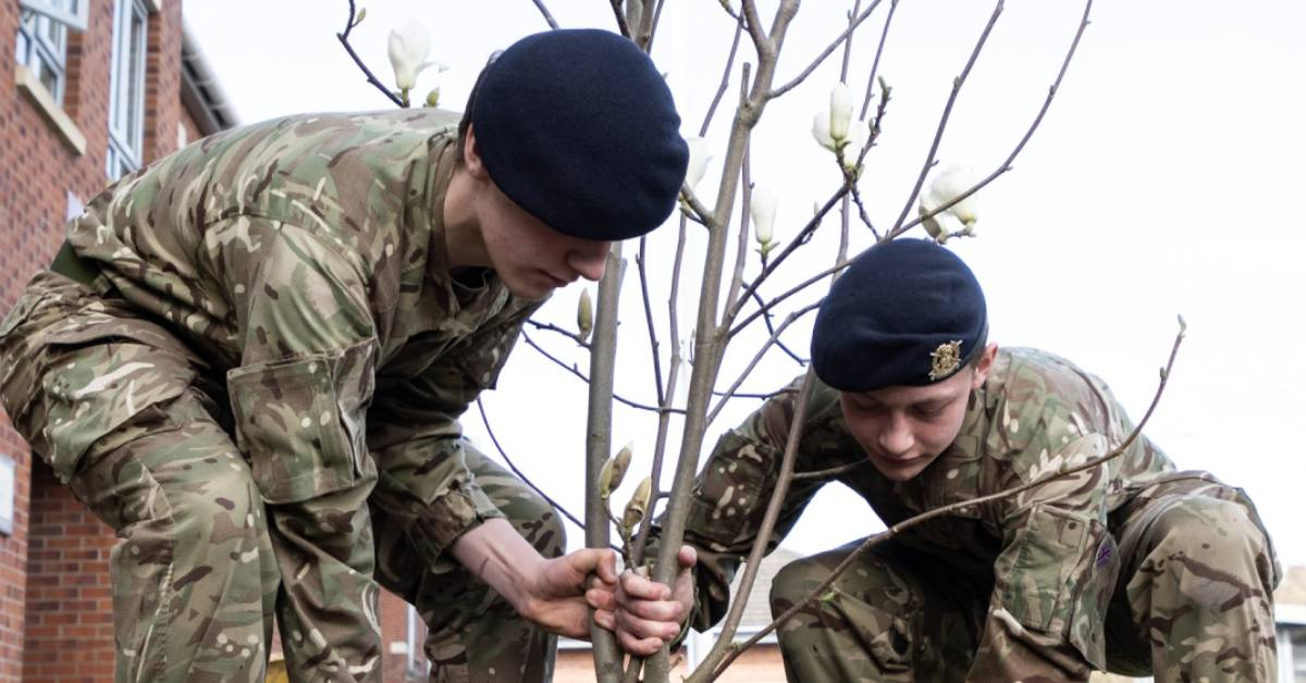Trees planted to honour Captain Tom at Harrogate's army college