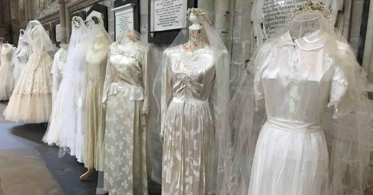Dresses fit for royalty adorn the aisles at Ripon Cathedral