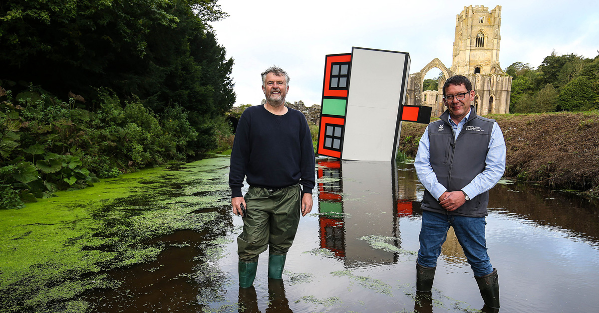 Eyecatching sculpture at Fountains Abbey highlights flood fears
