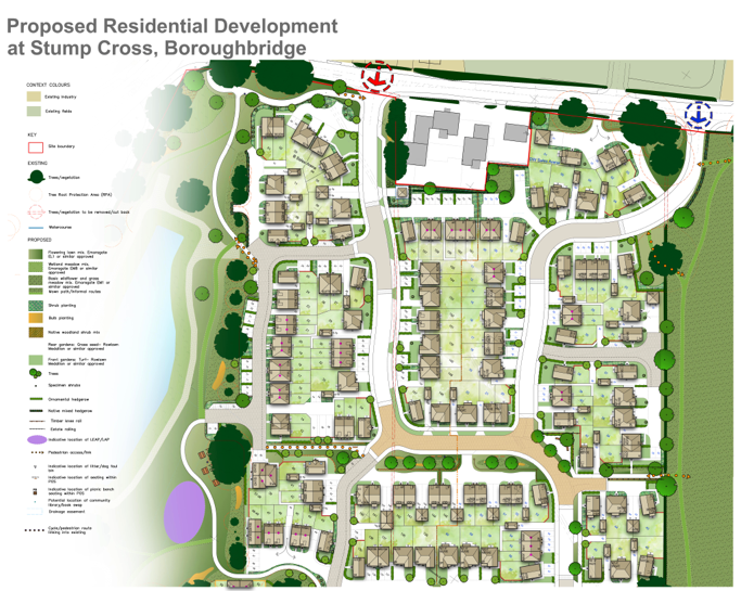 The site layout for the planned 256 homes in Boroughbridge.