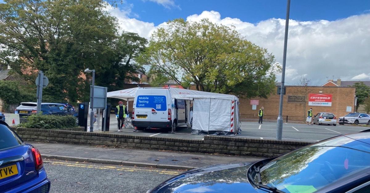 Harrogate's covid testing site at Tower Street car park.